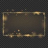 Guld- ram för vektor med ljuseffekter Glänsande rektangelbaner Isolerat på svart genomskinlig bakgrund Vektorillustration, stock illustrationer