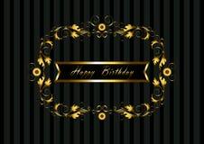 Guld- ram med den blom- modellen och lycklig födelsedag för band Royaltyfri Bild