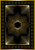 Guld- ram med den calligraphic prydnaden. Royaltyfri Bild