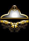 Guld- ram med kronan och pilbågen Arkivbilder