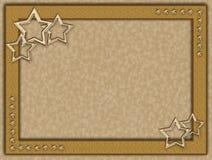Guld- ram med metallstjärnor royaltyfri illustrationer