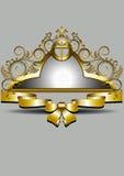 Guld- ram med pilbågen och kronan Arkivbilder