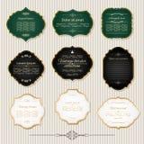 Guld- ram- och etikettuppsättning för tappning royaltyfri illustrationer