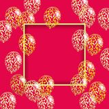 Guld- ram och genomskinliga ballonger med paljetter och konfettier Arkivbild