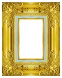 Guld- ram på den vita bakgrunden Royaltyfri Fotografi