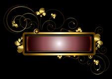Guld- ram som dekoreras med guld- krullning, pärlor och kronblad Arkivfoto