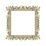 Guld- ram som dekoreras med guld- rosor Arkivfoton