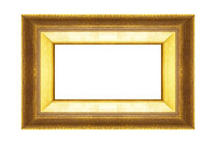 Guld- ram som isoleras på svart bakgrund Arkivbild