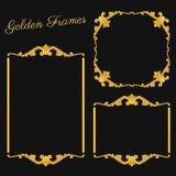 Guld- ramar för fastställd tappning på mörk bakgrund royaltyfri illustrationer