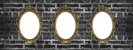 Guld- ramar för tappning med kopieringsutrymme Arkivfoto