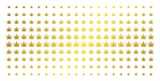 Guld- rastrerad samling för cannabis stock illustrationer