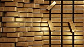 Guld- realistisk tolkning för stänger 3D Arkivbilder