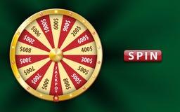 Guld- realistiskt hjul för förmögenhet 3d, lycklig modig snurrande, lyxig roulett på grön bakgrund Kasinobakgrund för pengar Royaltyfri Foto