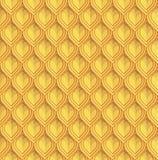 Guld- reptil- eller fiskvåg Lamellar pansarefterföljd seamless vektor för modell stock illustrationer