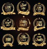 Guld- retro samling för vektor för försäljningslagerkransar Royaltyfria Foton