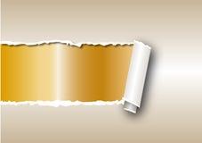 Guld rivit sönder papper stock illustrationer