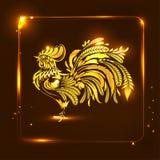 guld- rooster Stiliserad teckning greeting lyckligt nytt år för 2007 kort Royaltyfri Illustrationer