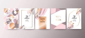Guld rosa broschyr, reklamblad, inbjudan, kort royaltyfri illustrationer