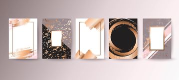 Guld rosa broschyr, reklamblad, inbjudan, kort vektor illustrationer