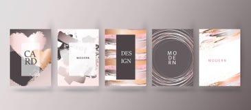 Guld rosa broschyr, reklamblad, inbjudan, kort stock illustrationer