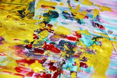 Guld- rosa suddig röd blå softwatercolorbakgrund, vaxartad abstrakt textur Royaltyfria Foton