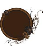 guld- round för brun ram Arkivbilder