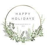 Guld- rund mall för din text, garnering av blommor, bär, sidor och andra växter stock illustrationer