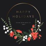 Guld- rund mall för din text, garnering av blommor, bär, sidor och andra växter royaltyfri illustrationer
