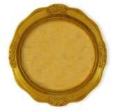 guld- rund ram royaltyfri foto