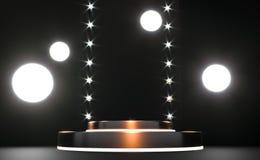 Guld- runt podium, sockel eller plattform, exponerade av ledde str?lkastare illustration Ljus lightpodium annonsering royaltyfri illustrationer