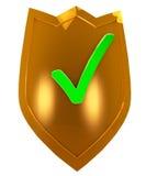 Guld- säkerhetssköld Royaltyfri Bild