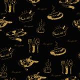 Guld- sömlös hand-dragen matmodell med Royaltyfri Fotografi