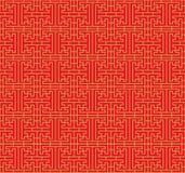 Guld- sömlös kinesfyrkantlinje bakgrund för modell för tracery för geometrigallerfönster Arkivfoton