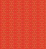 Guld- sömlös kinesisk geometrifyrkantlinje bakgrund för modell för gallerfönstertracery Arkivfoton