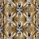 Guld- sömlös modell för abstrakt vektor Damast bakgrundswallpap Royaltyfria Bilder
