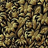 Guld- sömlös modell för vektor, blom- textur royaltyfri illustrationer