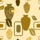Guld- sömlös modell med vaser Arkivbilder