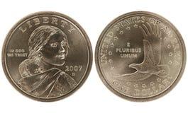 guld- sacajawea för myntdollar Arkivfoton