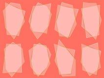 Guld- samling av geometriska ramar på korallfärgbakgrund royaltyfri illustrationer