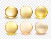 Guld- samling för exponeringsglasboll stock illustrationer