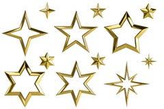 guld- samling för stjärna 3D royaltyfri illustrationer