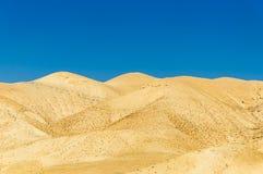 Guld- sanddyn i öken med blå himmel Fotografering för Bildbyråer
