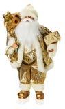 Guld- Santa Claus leksak som isoleras på den vita bakgrunden Royaltyfri Fotografi