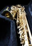 Guld- saxofon i dess fall royaltyfri foto