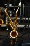 guld- saxofoner Royaltyfria Bilder