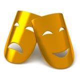 Guld- sceniska maskeringar, 3d Arkivbilder