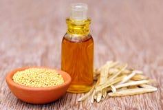Guld- senap med tom fröskidor och olja i en flaska Royaltyfri Fotografi