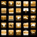 guld- set för feriesymbolsiphone vektor illustrationer