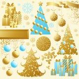 guld- set för jul vektor illustrationer