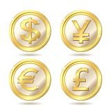 guld- set för mynt Royaltyfria Foton